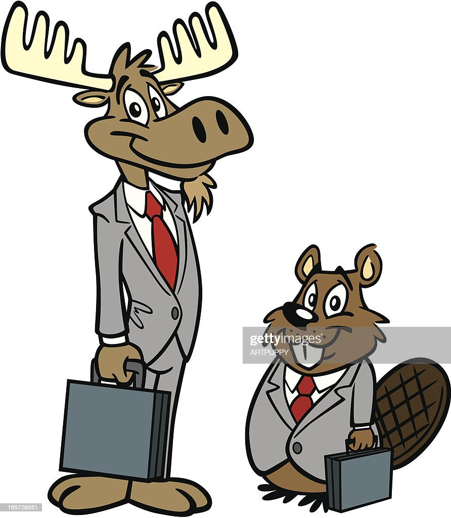 moose and beaver doing business vector art getty images
