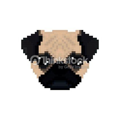 Mops Dog Head In Pixel Art Style Vector Illustration Vector