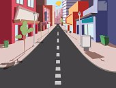 Morning cityscape in a comic style. The road to the shops