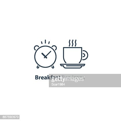 Morning tea cup icon, alarm clock, breakfast coffee : stock vector