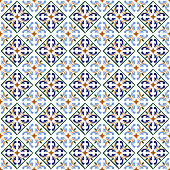Moroccan blue tiles print or spanish ceramic surface vector pattern texture. Mosaic arabesque or portuguese design illustration