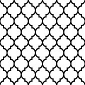 Repetitive monochrome wallpaper background inspired by ceramic tiles from Morocco, mosaic with abstract shapes