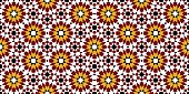 Multicolored mosaic moroccan zellige seamless. vector illustration