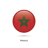 Morocco flag - round glossy button. Vector Illustration.