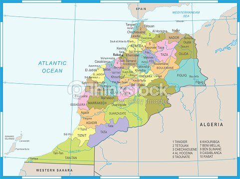 Morocco Map Detailed Vector Illustration stock vector - Thinkstock on