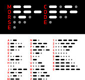 International Morse Code alphabet and numbers. Vector illustration with transparent effect. Eps10.