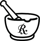 mortar and pestle with pharmaceutical symbol / black and white vector and illustration, isolated on white background.