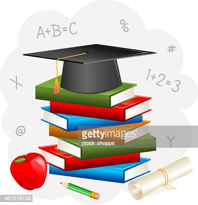 Mortar Board on Book with Degree : Vector Art