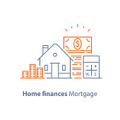 Mortgage loan calculator, down payment, low interest rate, home buying budget, vector line icon, thin stroke