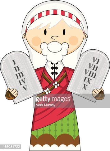 Moses with the Ten Commandments : Vector Art