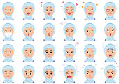 Moslem businesswoman various expressions set. Vector characters isolated on a white background.