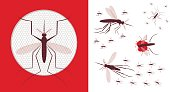 Vector illustration of flying mosquitoes.