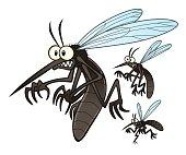 Vector illustration of flying three cartoon mosquitoes.