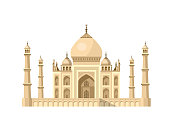 High quality, detailed most famous World landmark. Vector illustration of Taj Mahal an ancient Palace in India. Travel vector