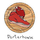 Most Popular Steak Porterhouse on a Round Wooden Cutting Board. Beef Cut. Meat Guide for Butcher Shop or Steak House Restaurant Menu. Hand Drawn Illustration. Savoyar Doodle Style