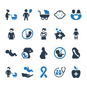 Beautiful, Meticulously Designed Mother Healthcare Icons - Blue Version