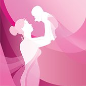 Happy mother raising newborn baby on pink background