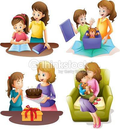 m re et enfants faire diff rentes activit s clipart vectoriel thinkstock. Black Bedroom Furniture Sets. Home Design Ideas