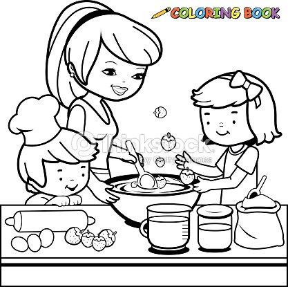 mutter und kinder kochen in der k che malbuch seite vektorgrafik thinkstock. Black Bedroom Furniture Sets. Home Design Ideas