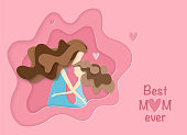 Mother and daughter hugging in pink background. Paper art style woman's day card. Happy family in mother's day.