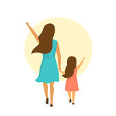 mother and daughter walking together holding hands, backside rear view isolated vector illustration scene
