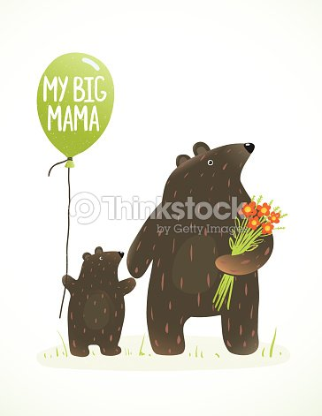 Mother Bear And Her Baby Childish Animal Cartoon Vector Art