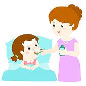 Mother giving daughter medicine vector illustration