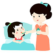 Mother giving daughter medicine vector illustration.