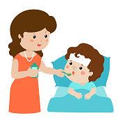 Mother giving son medicine vector illustration.