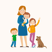 mother standing with her three children. Happy family. Cartoon vector eps 10 illustration isolated on white background in a flat style.