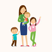 Mother with three children. Happy family. Cartoon vector eps 10 illustration isolated on white background in a flat style.