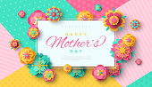Mother's Day greeting card with square frame and paper cut flowers on colorful modern geometric background. Vector illustration. Place for your text.
