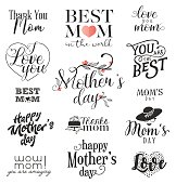 Mother's Day Design Elements, Badges and Labels in Vintage Style