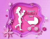 Mother's day origami paper art greeting card in trendy style with frame, patterns, flowers, woman holding baby son silhouette. Colorful carved vector illustration