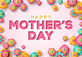 Happy Mother's Day Greeting Card, Paper cut with Spring Flowers on Light Background. Vector illustration. Place for your Text.