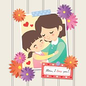 Happy Mother's Day. Photo of cartoon mother and daughter hugging together. Photo frame with flower decor and memo written ' Mom, I love you!', white wooden wall background. Vector illustration.