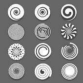 Motion spiral or swirl vector icons. Spinning white spiral and twist spiral signs, white spiral elements
