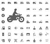 Motobyke icon. Transport and Logistics set icons. Transportation set icons.