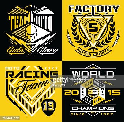Motocross sport shield emblem set : stock vector