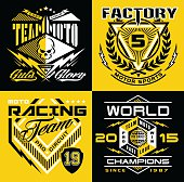Motocross racing, sports-inspired graphic emblems suitable for modification.