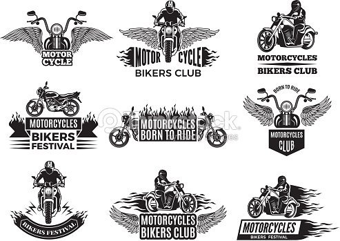 Motorbike Illustrations Logos For Bike Club stock vector