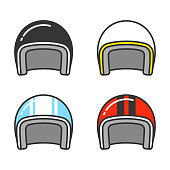 Vintage motorcycle helmet, line icon set. Classic helmets in different colors, isolated vector illustration.