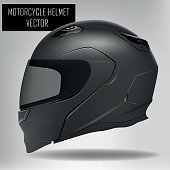 Isolated motorcycle helmet set on a grey background