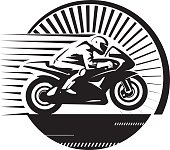 Motorcycle racer. Vector illustration in the engraving style.