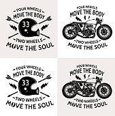 Motorcycle with text Four wheels move the body. Two wheels move the soul. Motobike . Motorbike and  helmet . Vintage