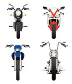 Frontviews of different types of motorcycles.