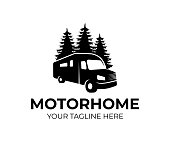 Motorhome or recreational vehicle (RV) camper car, icon template. Vacation travel or traveling, trip or adventure and caravan car, vector design. Transport, trees spruce and nature, illustration