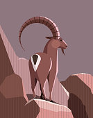 Wild mountain goat stands on a mountain ledge in the rays of the setting sun, minimalist design