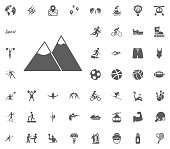 Mountain icon. Sport illustration vector set icons. Set of 48 sport icons