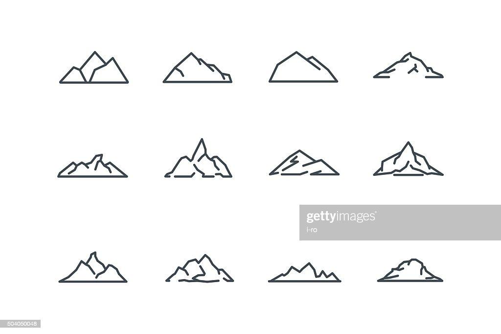 mountain icons set line art stock vector vector art thinkstock rh thinkstockphotos co uk mountain lion article mountain line art vector